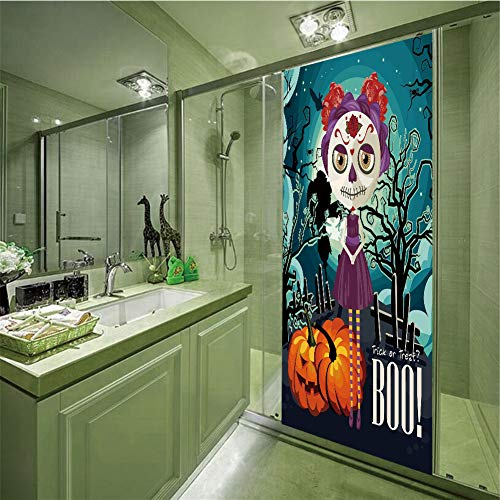 3D Privacy Glass Film No Glue,Halloween,Cartoon Girl with Sugar Skull Makeup Retro Seasonal Artwork Swirled Trees Boo Decorative,Multicolor,35.43