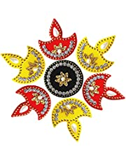 Multicolor Acrylic Diya Rangoli for Home Office Diwali Indian Festivals Decoration Traditional Studded with Faux Stones Floor Decorations 7 X 7 Inch