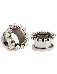KUBOOZ Black Crystal Flower Titanium Steel Tunnels Ear Plugs Stretcher Expander Gauges Piercing Jewelry