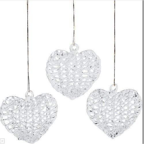 12 Glass Heart Ornaments -