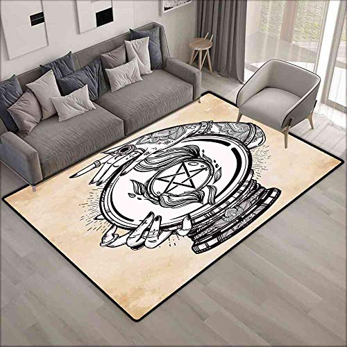 Rugs Occult,Illustration of Medium Crystal Ball for Mystery with Tattooed Hands Future Psychic,Tan Black Porch Decoration Rugs 4'x6'