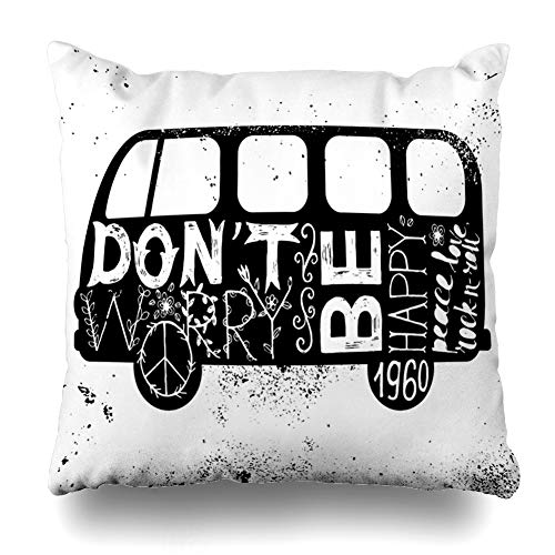 ArTmall Throw Pillow Case Vintage Hippie Time Decorated Van Dont Don 39 Hand Worry Be Happy Peace Love Rock Roll Design Minivan Zippered Pillowcase Square Size 16 x 16 Inches Home Decor Cushion Covers (Rock Hippie)