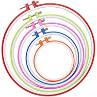 Similane 5 Pieces Embroidery Hoops, Plastic Circle Cross...