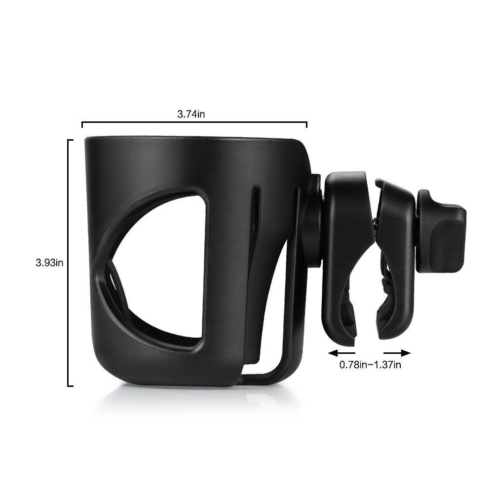 Universal Cup Holder by Accmor, Stroller Cup Holder, Large Caliber Designed Cup Holder, 360 Degrees Universal Rotation Cup Drink Holder, Black, 2 Pack by Accmor (Image #7)