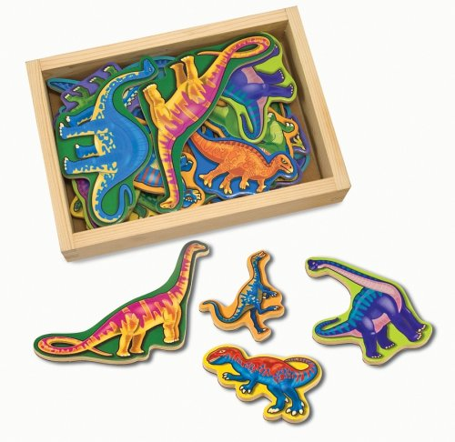 Melissa & Doug 10476 Magnetic Wooden Dinosaurs in a Wooden Storage Box (20 pcs)