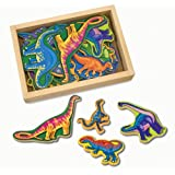Melissa & Doug Magnetic Wooden Dinosaurs in a Wooden Storage Box (20 pcs)