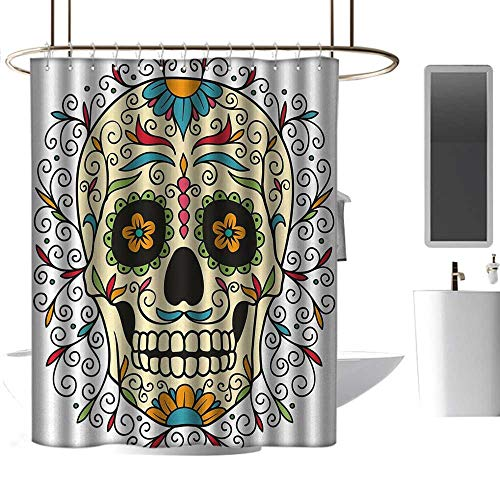 coolteey Shower Curtains for Kids Bathroom Sugar Skull,Catrina Calavera Featured Figure Ornaments Macabre Remember The Dead Theme,Multicolor,W72 x L96,Shower Curtain for Girls]()