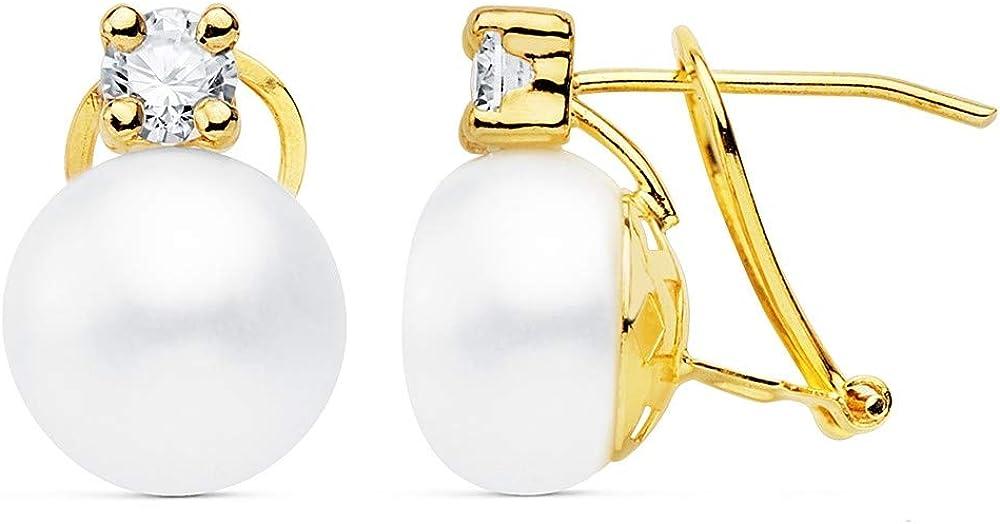 Pendientes oro 18k 14mm. perla cultivada botón 10mm. chatón circonita cierre omega mujer