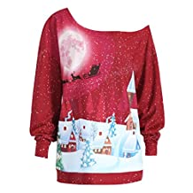 Sunny Fashion Girls Dress, COOL99 Women Christmas Print Sweatshirt Pullover Top Party Plus Size Blouse Shirt (Red, X-Large)