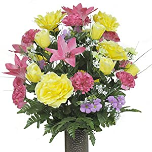 Pink Lily and Yellow Rose Mix Artificial Bouquet, featuring the Stay-In-The-Vase Design(c) Flower Holder (LG1203) 87