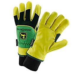 John Deere JD95040/L Thinsulate Gloves with Grain Deerskin Leather, Large, Yellow Black