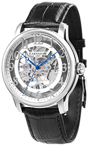 Thomas Earnshaw Mens The Longitude Skeleton Watch - Black/White/Silver