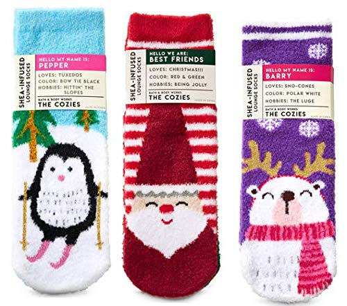 Bath and Body Works 3 Pack Christmas Shea-Infused Lounge Socks. Penguin, Santa & Elf and Polar Bear. ()