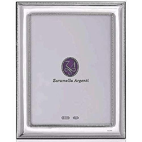 Luxurious ROME double-beaded border sterling silver 5x7 frame by Zaramella Argenti® Italy - 5x7 ()