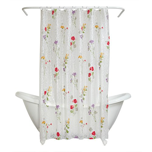 Rice Vinyl Shower Curtain - Zenna Home Wild Flower Peva Shower Curtain Liner, Floral