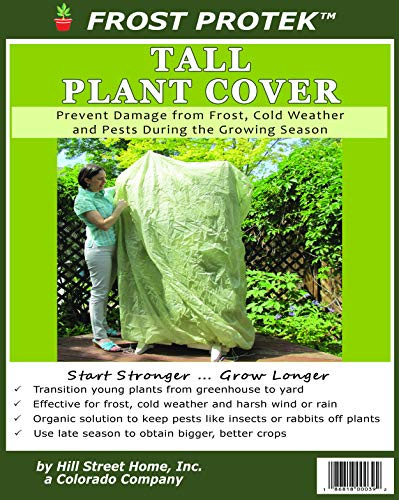 Frost Protek Tall Plant Cover -6′ Tall -Drawstring Closure -Garden Fabric for Protection and Insulation