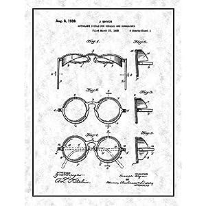 "Antiglare Shield For Goggles And Sunglasses Patent Print Gunmetal with Border (24"" x 36"") M12242"