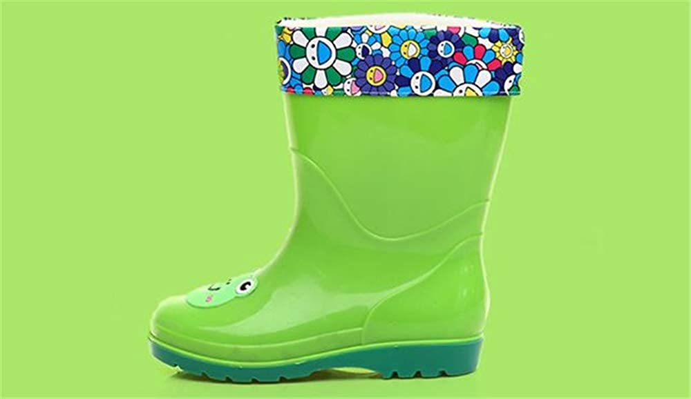 Sunny Day Little Kids Girls Boys Waterproof Rain Boots for Toddlers Cartoon Detachable Cotton