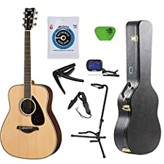 The Yamaha FG800 Natural Folk Guitar is the standard acoustic model with quality sound and a traditional design. This solid-top guitar has authentic, balanced sound with robust strength, due to the scalloped bracing. The FG is louder and stro...