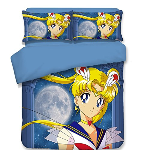 Price comparison product image Ailancos Sailor Moon 3Pc Duvet Cover Set AC Printed Bedding Set for Kids&Adult/Breathable/Soft,Queen