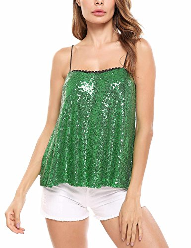 - ELESOL Women's Camisole Shimmer Sequined Loose Fit Sparkle Tank Top Vest Top (Green/M)