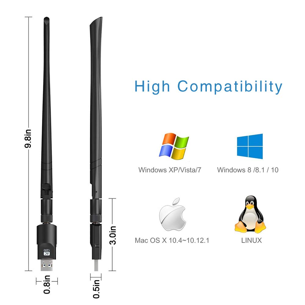 USB Wifi Adapter 1200Mbps ZTESY USB 3.0 Wifi Dongle 802.11 ac Wireless/Network Adapter with Dual Band 2.4GHz//300Mbps+5GHz//866Mbps 5dBi High Gain Antenna for Desktop Windows XP//Vista//7//8//10 Linux Mac