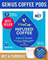 VitaCup Genius Coffee Pods with MCT, Turmeric, Vitamins, Cinnamon, Keto|Paleo|Whole30 Friendly, B12, B9, B6, B5, B1, D3, Compatible with K-Cup Brewers Including Keurig 2.0, Top Rated Cups