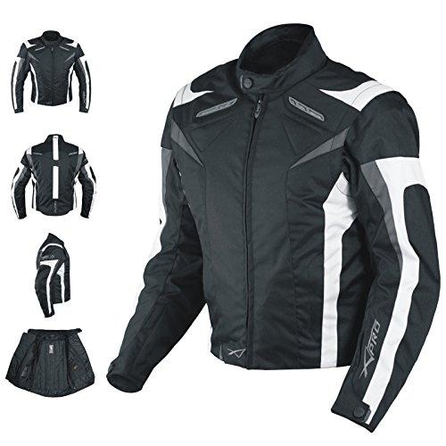 A-pro Motorcycle Jacket CE kogelstof Motorbike Racing Thermal Liner, zwart-wit, M