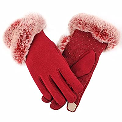 Kanhan Fashion Women Lady Winter Warm Leather Driving Screen Touch Gloves Mitten