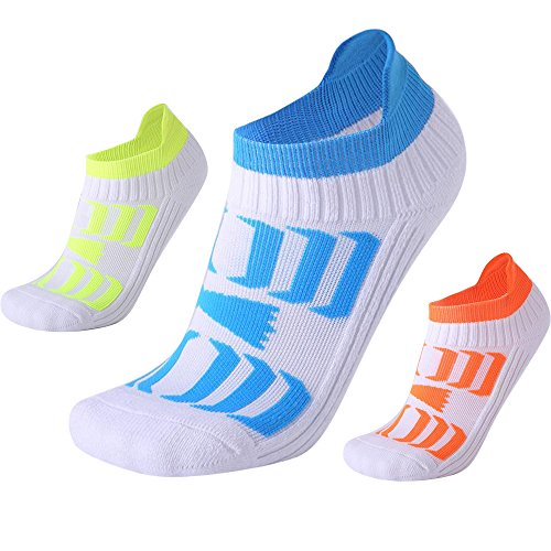 Men's Low Top Sports Socks Best Basketball Running Bicycle Badminton Tennis Hiking Training Travel (3 pairs) by Neaxon