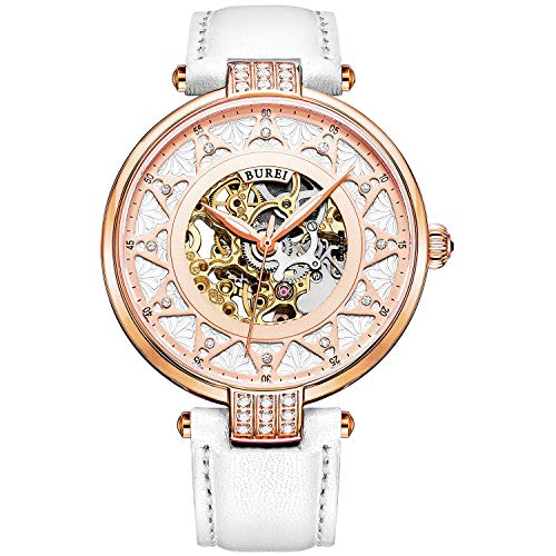 BUREI Automatic Women Watch Fashionable Skeleton Dial Mechanical Watch Sapphire Glass Rhinestone Markers and Soft Leather Strap