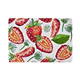 U LIFE Cute Strawberry Food Summer Fruit Passport Cover Holder Case Leather Protector with Slots for Women Men Kids