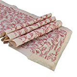 The White Petals Red Table Runners (Leaf Embroidery, V-End, 14x64 inches)