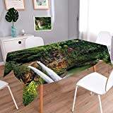 Jiahonghome Polyester Cloth Fabric Cover Twin Wailua Waterfalls Kauai Hawai Greenery Forest Grass Nature Scenic View Green Heavy Weight Cotton Linen Fabric Decorative