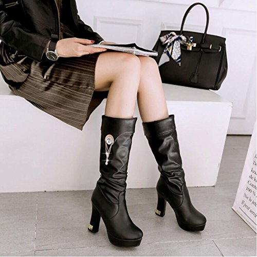 Weiß Damen Gao Frühling Stiefel amp;FA mit mit Schuhe Tongxue knielange Damen Stiefel Stiefelette LGK Dick Stiefel winter Absätzen hohen Damen EY1cqx