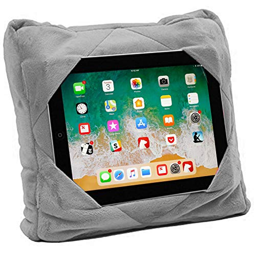 Easy Travel Pillow Go - GoGo Travel Pillow for Ipad Tablet Holder, Airplane Neck Pillow, Multi functional 3 in 1 Cushion Lap Desk for On The Go or at Home - Train, Car, Bus, Plane or in Bed - Great Gift for Kids (grey)