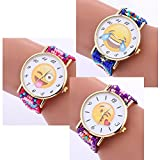 Navion Emoji Vintage Bead Strap Bracelet Watch with Gold Tone Plate Wholesales 3 Pcs