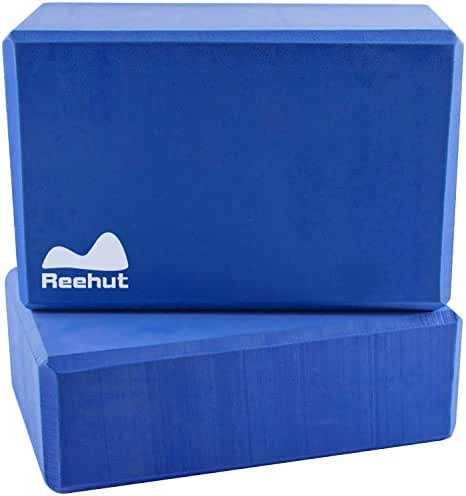 Reehut Yoga Block (1 PC or 2 PC) - High Density EVA Foam Block to Support and Deepen Poses, Improve Strength and Aid Balance and Flexibility - Lightweight, Odor Resistant and Moisture-Proof