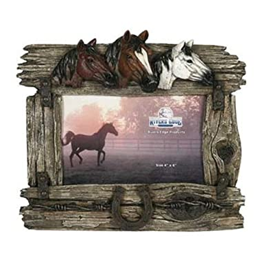 Rivers Edge Products 3 Horse with Barbed Wire Picture Frame