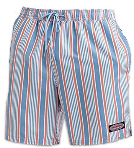 Vineyard Vines Mens Stripe chappy Swim Trunks Mai Tai Blue, Red, White (Large) (Chappy Stripe)