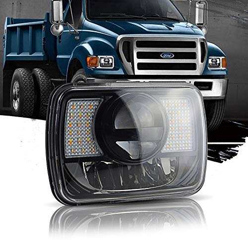T-Former DOT 5X7 7X6 Rectangular Headlights Hi/Lo Led Sealed Beam w/DRL Amber Turn Signal Replace Hid Xenon Halogen H6054 Headlamps For Jeep Wrangler Cherokee XJ YJ Ford Chevy Corvette Dodge Ram
