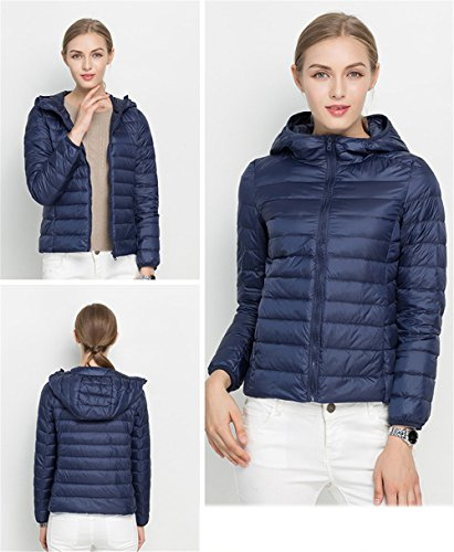 Women's Coat Navy Hooded Packble Jacket Down Ultralight Quilted Down Quibine dPBwpxqp