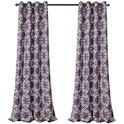 "MYSKY HOME Purple Curtains for Bedroom Moroccan Floral Tile Print Thermal Insulated Blackout Drapes for Living Room, 52"" W x 84"" L, Set of 2 Curtain Panels"