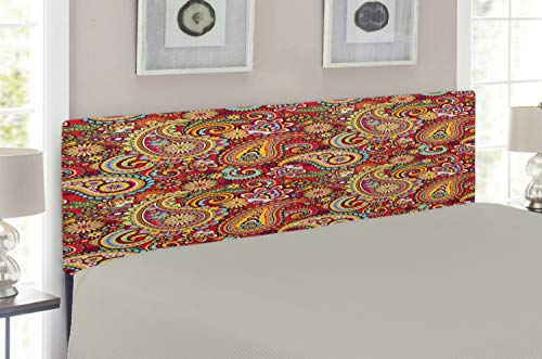 Lunarable Paisley Headboard for Full Size Bed, Oriental Paisley Pattern Persian Culture Inspired Swirls and Asian Style Flowers, Upholstered Decorative Metal Headboard with Memory Foam, Multicolor