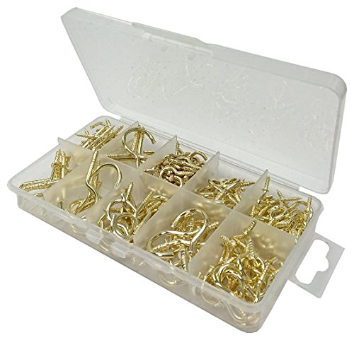 Bulk Hardware BH06593 Assortment of Brassed Cup Hooks and Dresser Hooks in a 10 Compartment Carry Case.
