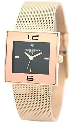 [Michel Jordan] michel Jurdain watch sports natural diamond containing Square Face mesh stainless steel belt black ~ pink gold MJ-1600-3 Ladies by michel Jurdain (Michel Jordan)