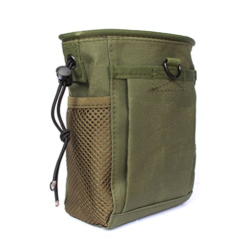Tactical Molle drawstring Magazine Dump Pouch, Military Adjustable Belt Utility fanny hip holster Bag Outdoor Ammo Pouch (Olive drab) Ammo Belt