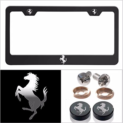 Fit Ferrari Laser Engraved Logo License Plate Frame Made of Industrial Grade Powder Coated Black Matte Black Stainless Steel w/ Caps and - Black Ferrari Matte Price
