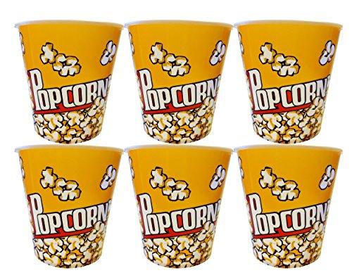 Set of 6 Black Duck Brand Medium Plastic Popcorn Buckets Bowls Fun Design Perfect Size (Set of 6, Medium)