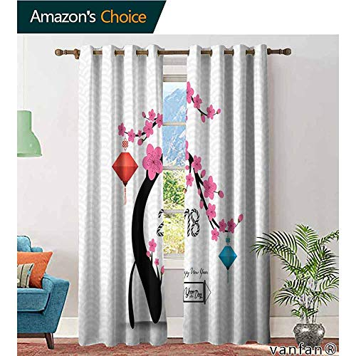 LQQBSTORAGE Year of The Dog,Home Living Room Darkening Curtains,Flourishing Cherry Blossom Tree with Oriental Elements Abstract Nature,Curtains for Kitchen ()